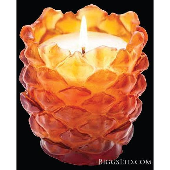 Daum Crystal Scented Pine Cone Candle Holder Amber 05435-1