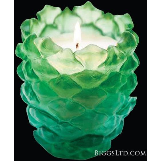 Daum Crystal Scented Pine Cone Candle Holder Green 05435