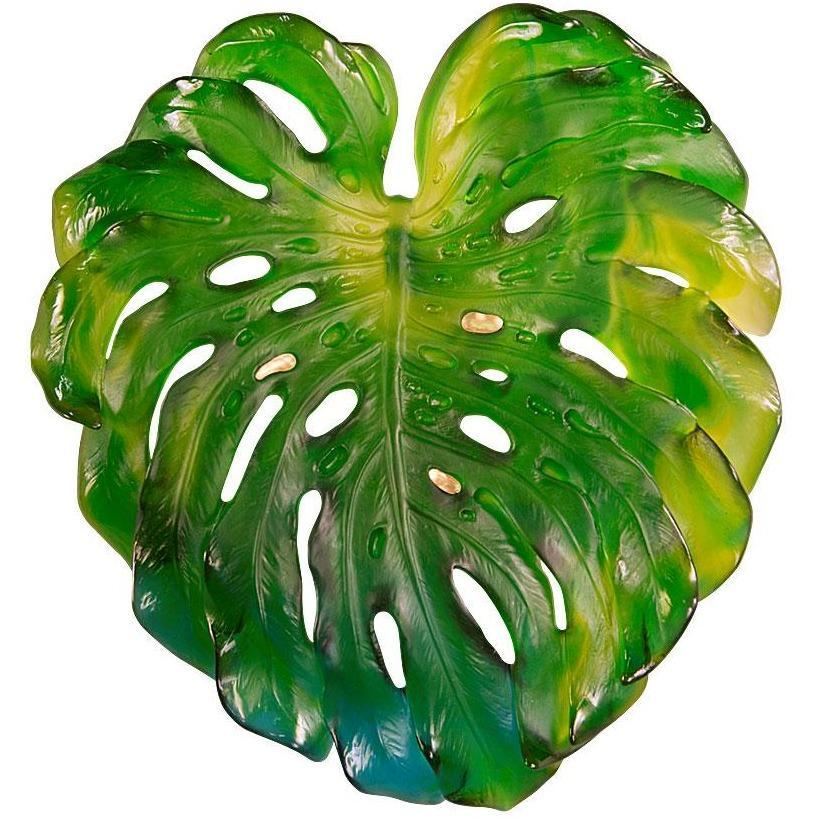 Daum Crystal Wall Leaf Large Green 5298