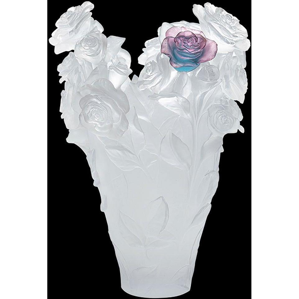 Daum Crystal White Vase & Green/Pink Flower Magnum 05106-8
