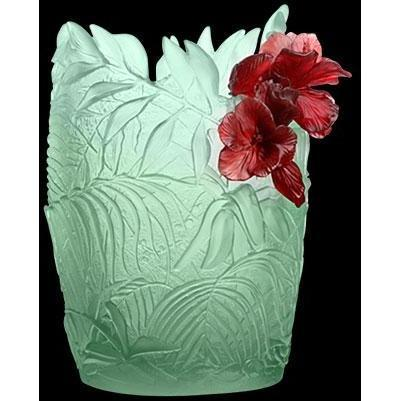 Daum Hibiscus Oval Vase Large Light Green Red 05493