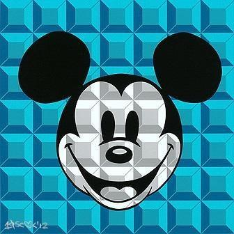 Disney Fine Art 8 Bit Block Mickey Aqua