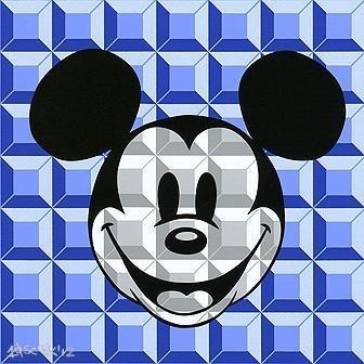 Disney Fine Art 8 Bit Block Mickey Blue
