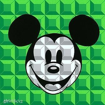 Disney Fine Art 8 Bit Block Mickey Green