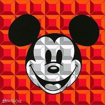 Disney Fine Art 8 Bit Block Mickey Red