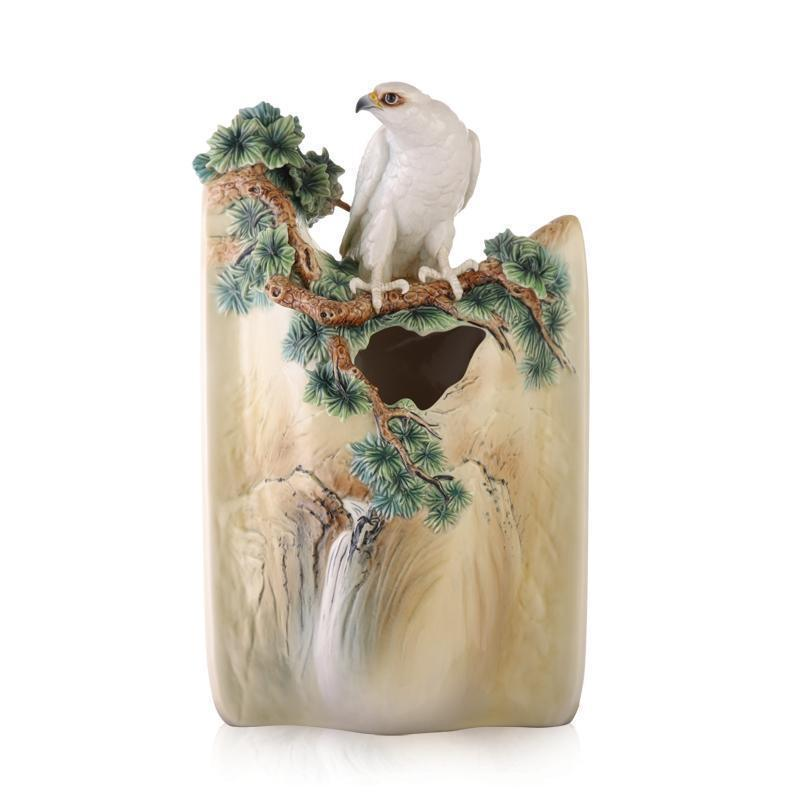 Franz Collection A Blessing of Good Fortune for the Home White Falcon Vase FZ03457