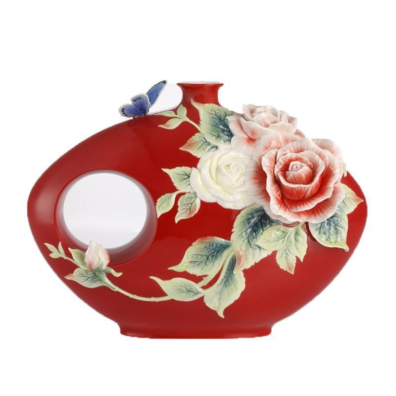 Franz Collection A Brave New Life Rose & Butterfly Round Vase FZ03030