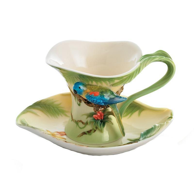 Franz Collection Amazon Rainforest Parrot Cup & Saucer FZ00832