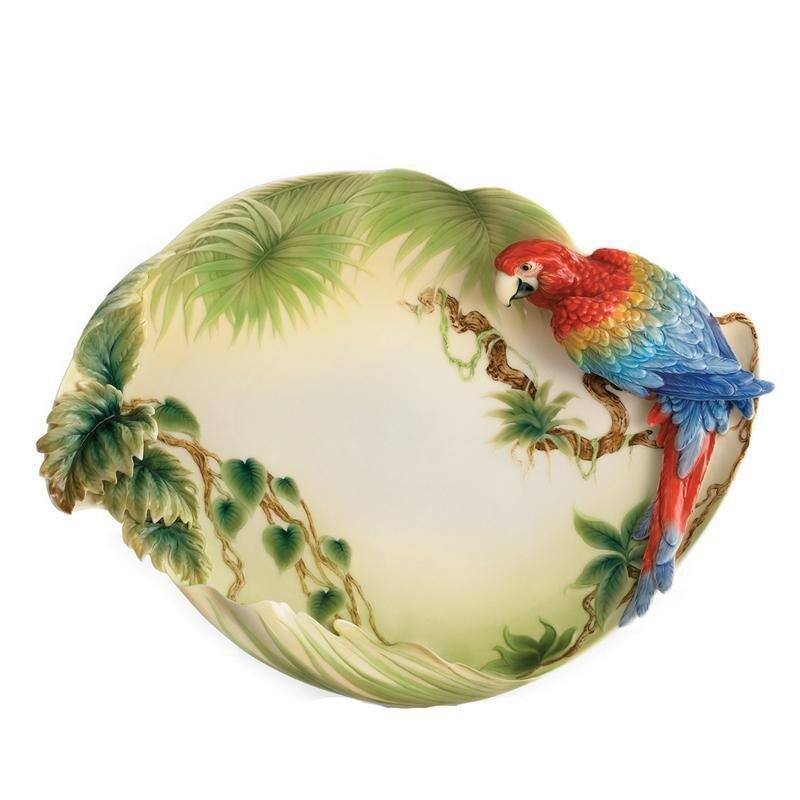 Franz Collection Amazon Rainforest Parrot Platter FZ00830