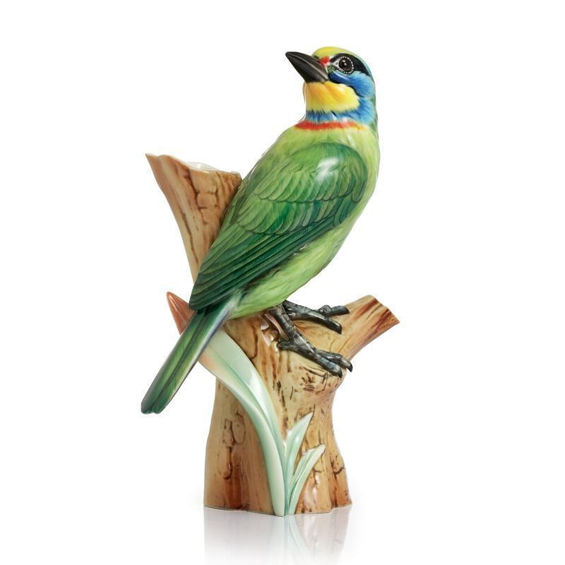 Franz Collection Artist's Palette Muller's Barbet Bird Small  Vase FZ02331