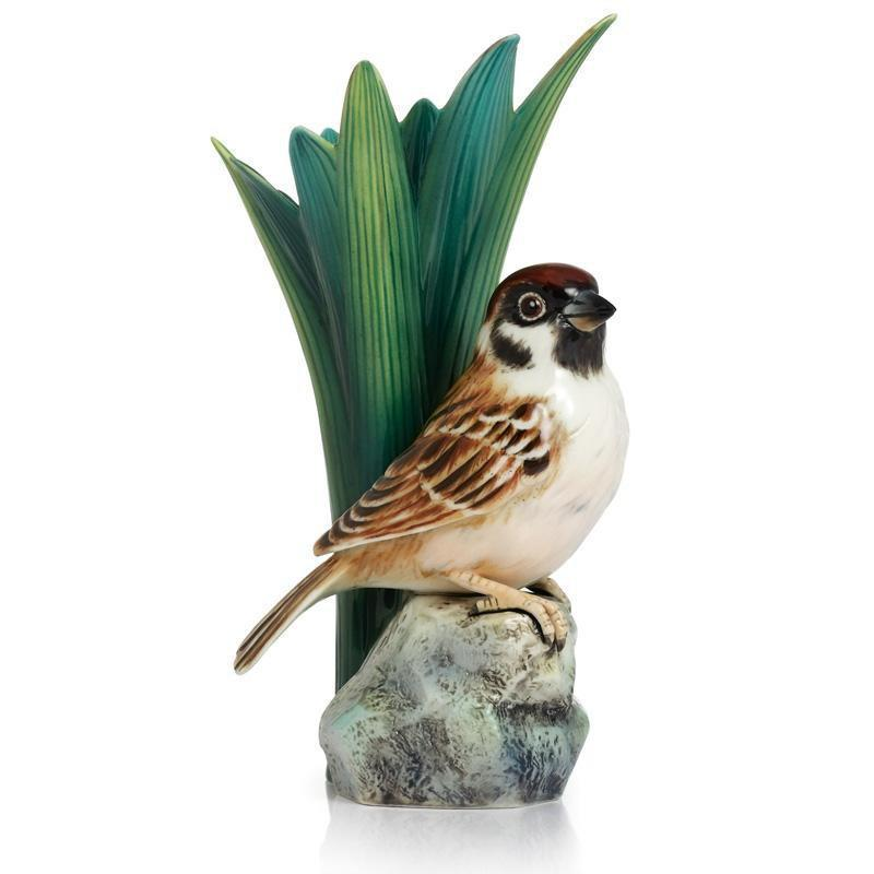 Franz Collection Artist's Palette Tree Sparrow Small  Vase FZ02401