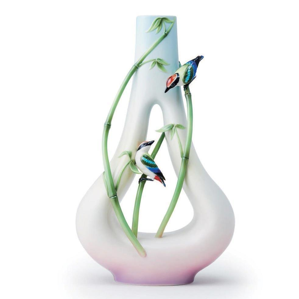 Franz Collection Bamboo Song Bird Mountain-Shaped Vase FZ03698