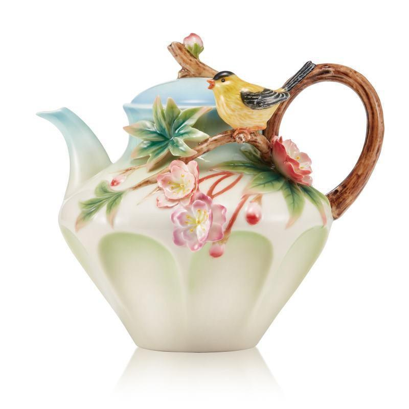 Franz Collection Begonia Yellow Oriole Teapot FZ03641
