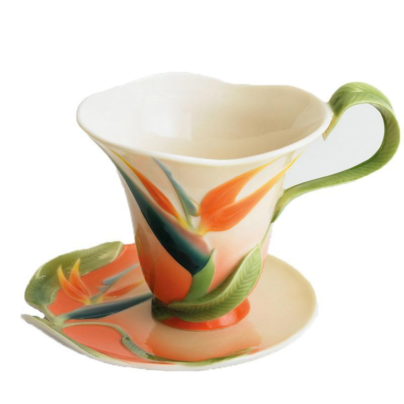 Franz Collection Bird Of Paradise Teaup & Saucer FZ00031