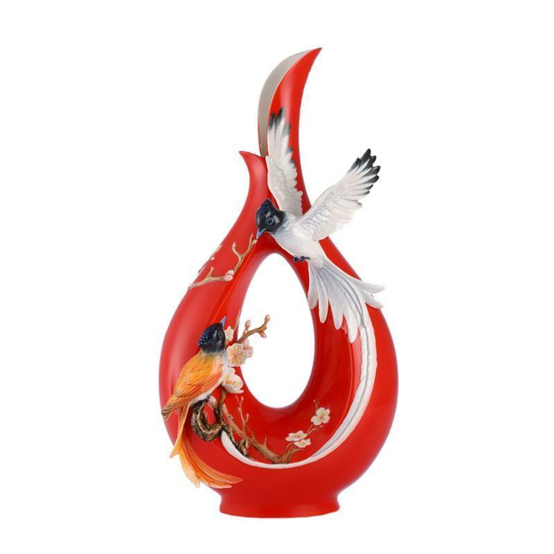 Franz Collection Black Paradise Flycatcher Plum Vase FZ03062
