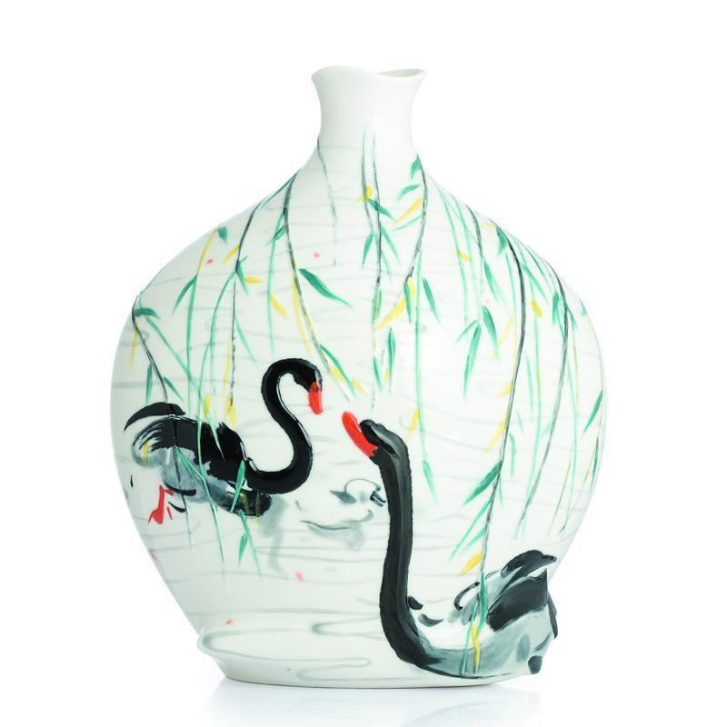 Franz Collection Black Swans Vase FZ02829