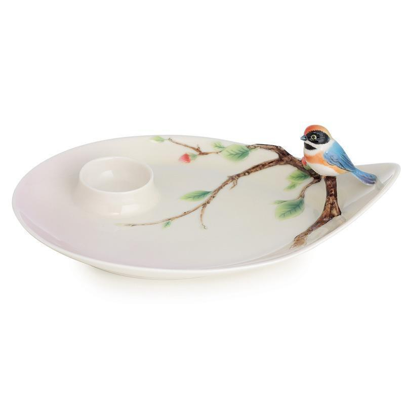 Franz Collection Black Throated Passerine Bird Dessert Plate FZ02760