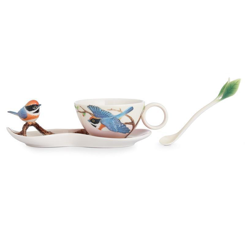 Franz Collection Black Throated Passerine Bird Teacup Saucer & Spoon FZ02748