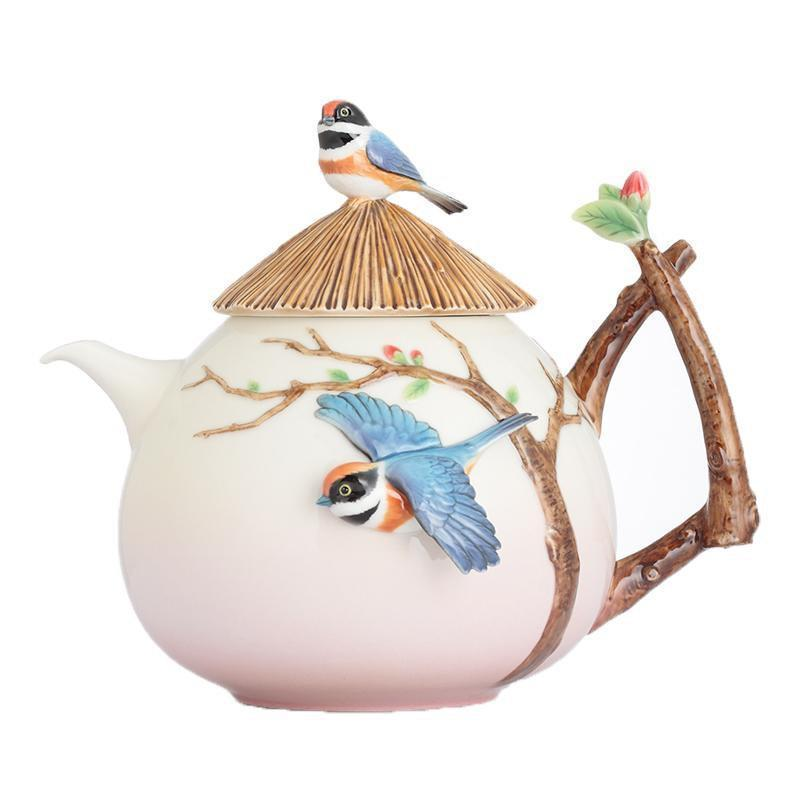 Franz Collection Black Throated Passerine Bird Teapot FZ02745
