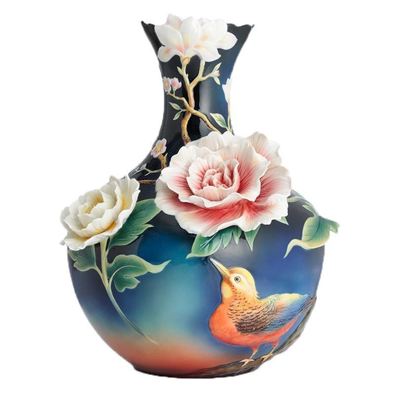 Franz Collection Blooming Flowers Pheasant Large Vase FZ02804