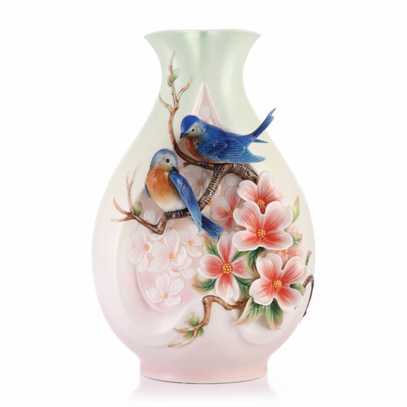 Franz Collection Blue Bird Dogwood Vase FZ03348