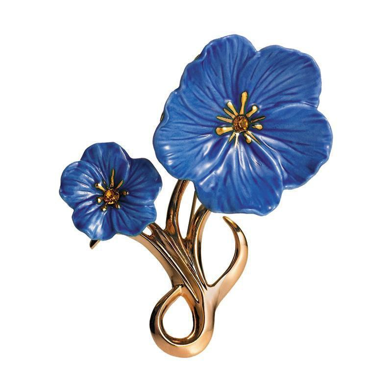 Franz Collection Blue Flax Flower Brooch FJ00187