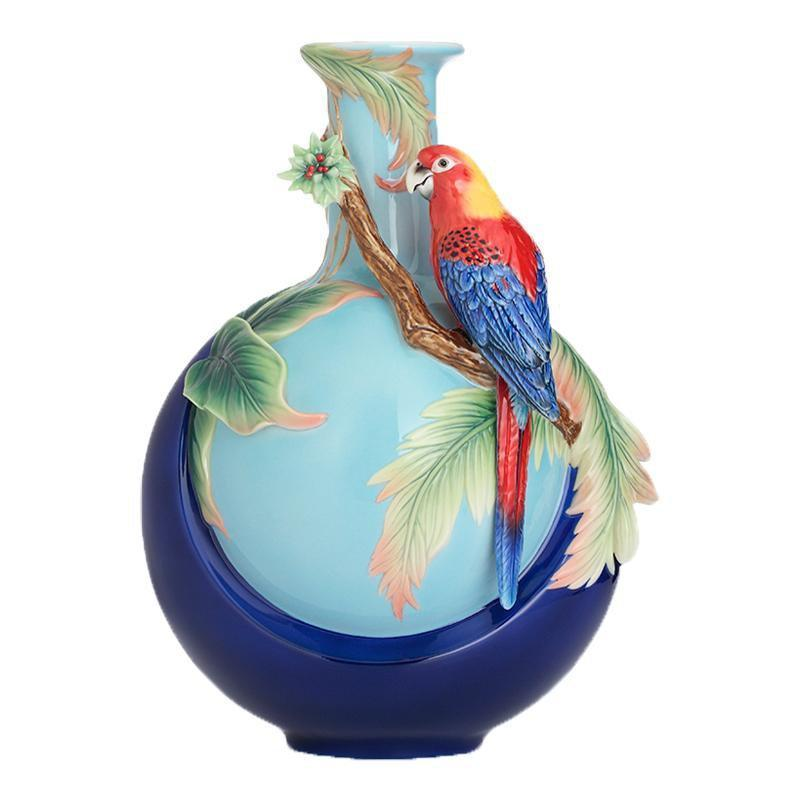 Franz Collection Blue Winged Parrot Medium Vase FZ02758
