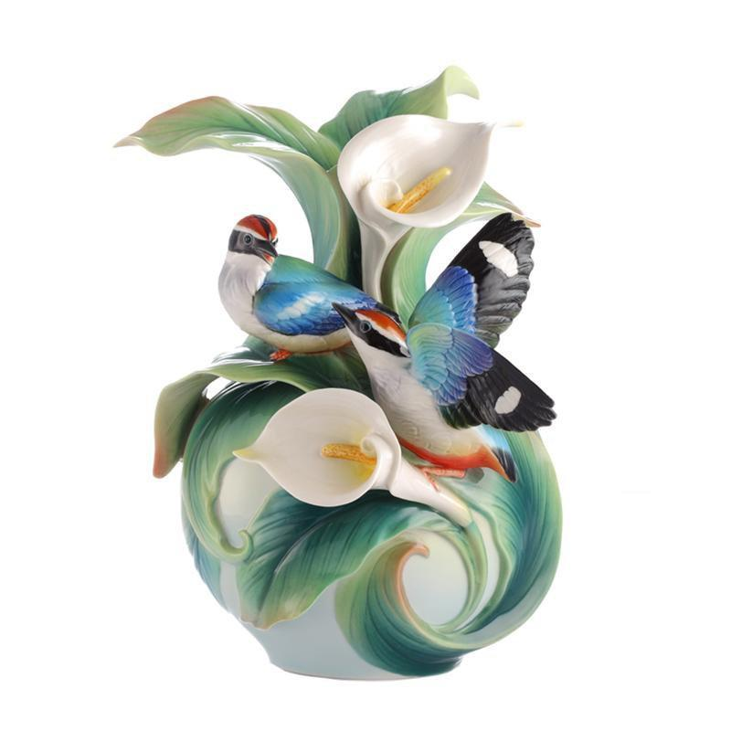 Franz Collection Blue Winged Pitta Vase FZ03123