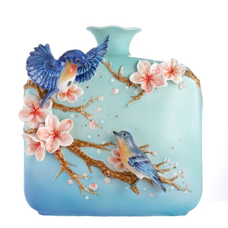 Franz Collection Bluebird & Cherry Blossom Vase FZ03092
