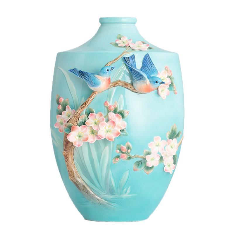 Franz Collection Bluebird On Apple Tree Large Vase FZ02852