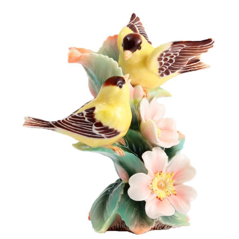 Franz Collection Bonded By Love Goldfinch Multiflora Rose Vase Small FZ02936