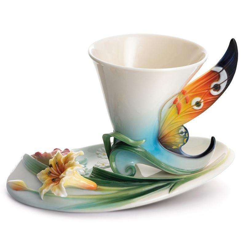 Franz Collection Bucheye Butterfly Teacup Saucer FZ01673