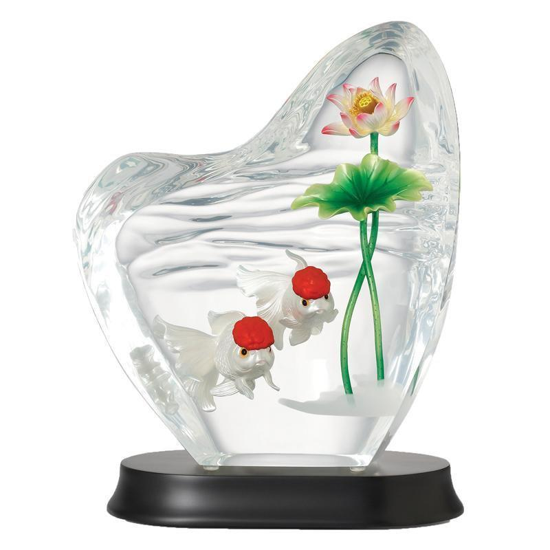 Franz Collection Carassiusauratus & Lotus Lucite Figurine FL00092