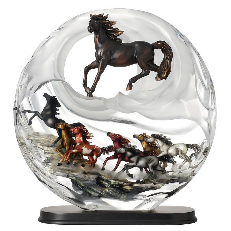 Franz Collection Collection Galloping Stallions Lucite Figurine FL00087