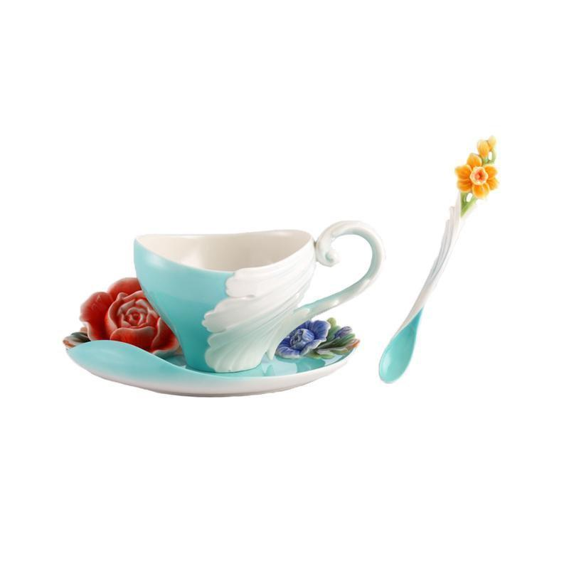 Franz Collection Collection Versailles Garden Rose Teacup Saucer & Spoon Set FZ02608