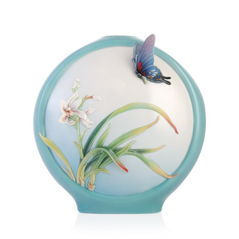 Franz Collection Dance of Grace Boat Orchids & Butterfly Vase FZ03354