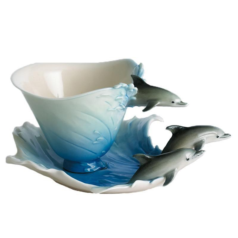 Franz Collection Dolphin Splash Cup & Saucer FZ00013