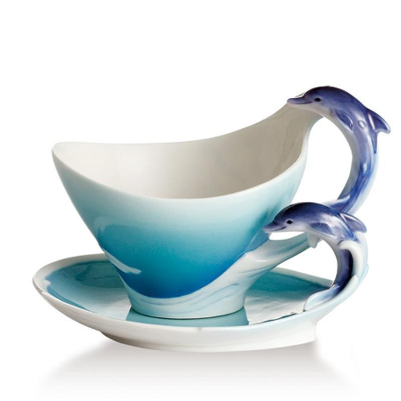 Franz Collection Dolphin Splash Cup Saucer & Spoon FZ02260