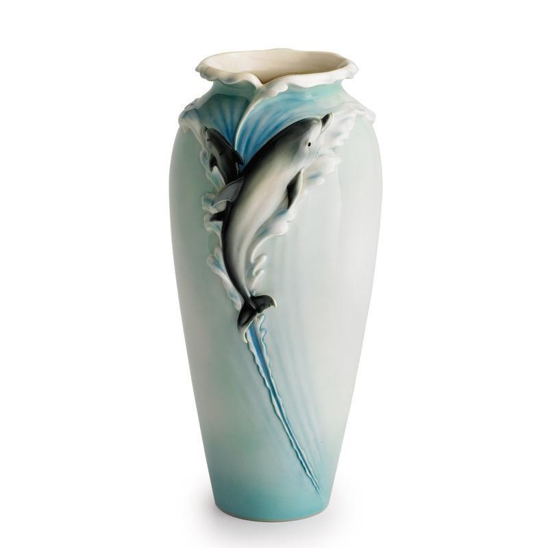 Franz Collection Dolphin Splash Leaping Vase XP1683