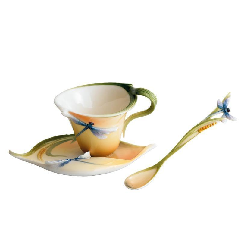 Franz Collection Dragonfly Orange Teacup & Saucer FZ00212