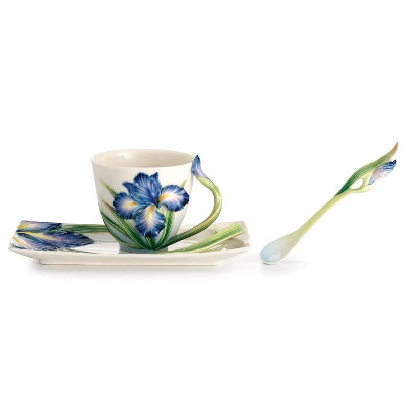 Franz Collection Eloquent Iris Teacup Saucer & Spoon FZ02480