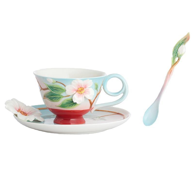 Franz Collection Everlasting Love Camellia Teacup, Saucer, Spoon FZ02869