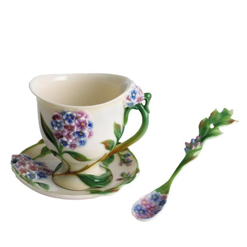 Franz Collection Forgetmenot Teacup & Saucer FZ00461