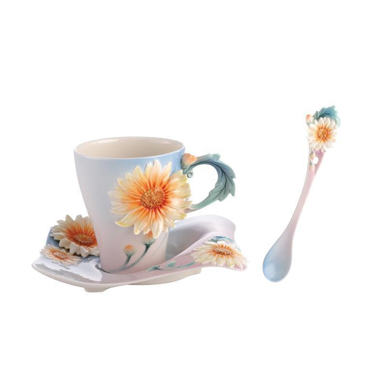 Franz Collection Four Seasons Chrysanthemum Teacup, Spoon, Saucer FZ02924