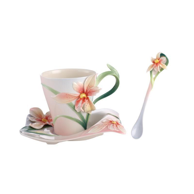 Franz Collection Four Seasons Orchid Teacup, Spoon, Saucer FZ02901