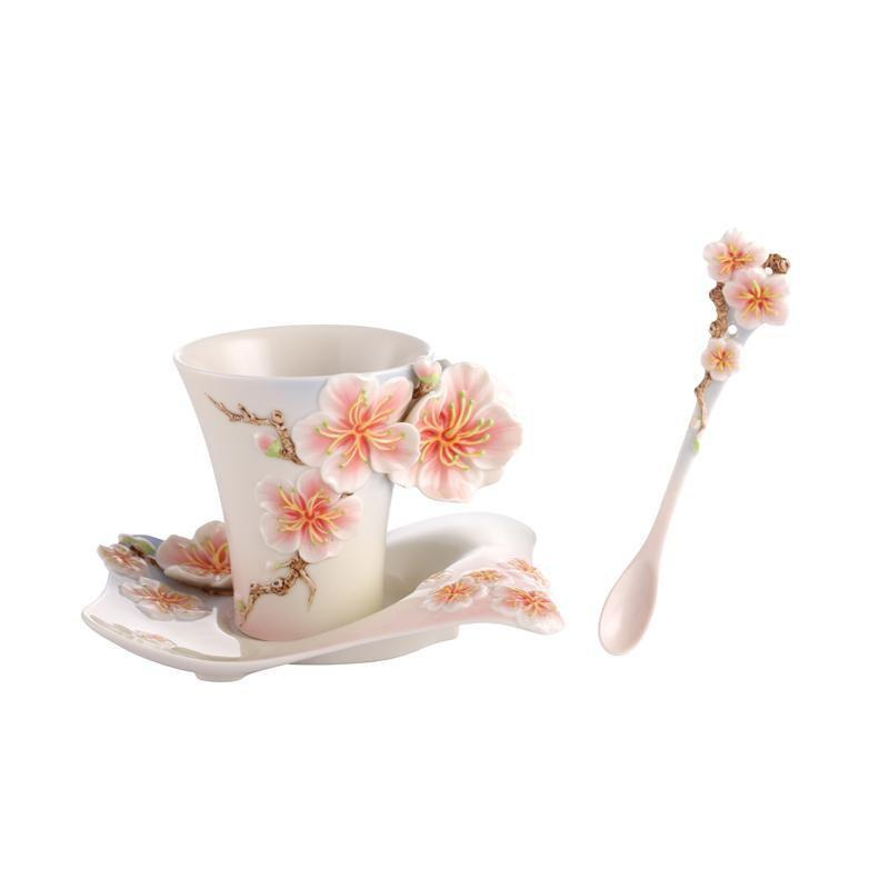 Franz Collection Four Seasons Plum Blossom Teacup, Spoon, Saucer FZ02900