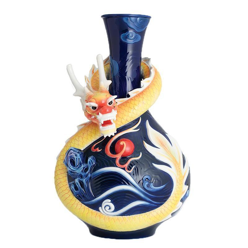 Franz Collection Gold Fortune Dragon Blue Vase FZ02826