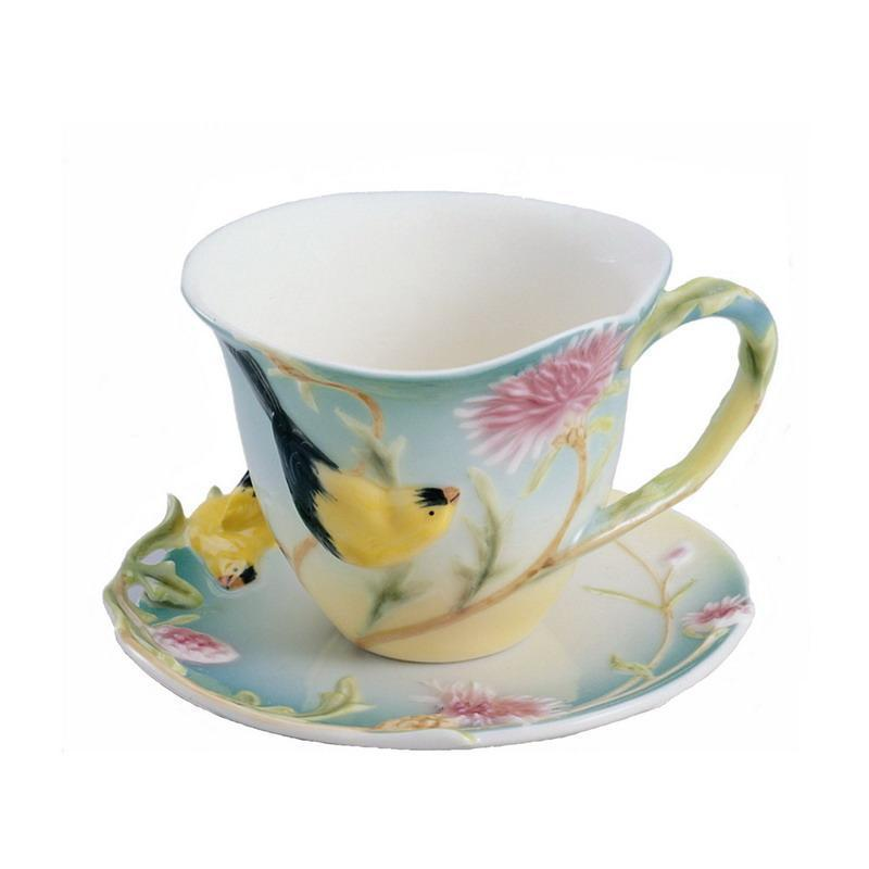 Franz Collection Goldfinch Thistle Cup Saucer FZ00039