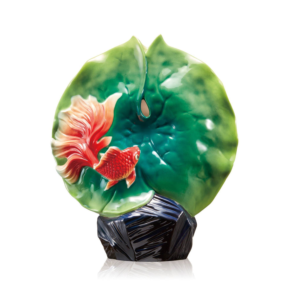 Franz Collection Goldfish & Lotus Leaf Vase FZ03647