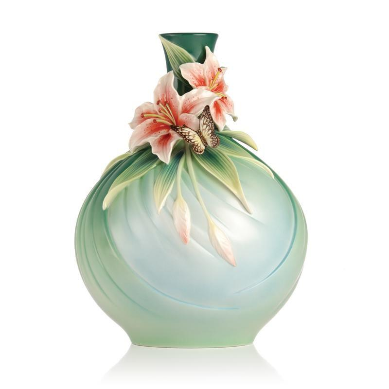 Franz Collection Good Fortune Lily & Butterfly Vase FZ03226